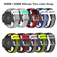 20mm/22mm Silicone Two-color Strap For Samsung Galaxy Watch S3 Garmin Vivoactive 3 Universal