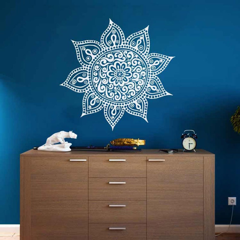 Yoga Studio Decor Mandala Wall Decal Vinyl Home Interior Design Art Bohemian Wall Decals Aesthetic Mural Living Room C417 Wall Stickers Aliexpress