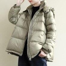 Johnature 2019 Nieuwe Winter Leisure All Match Afneembare Hoed Warm Donsjack Eenvoudige Comfortabele Lange Mouwen Vrouwen Dikke Down jas