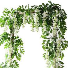 1pc 2M Flower String Artificial Wisteria Vine Garland Plants Foliage Outdoor Hom