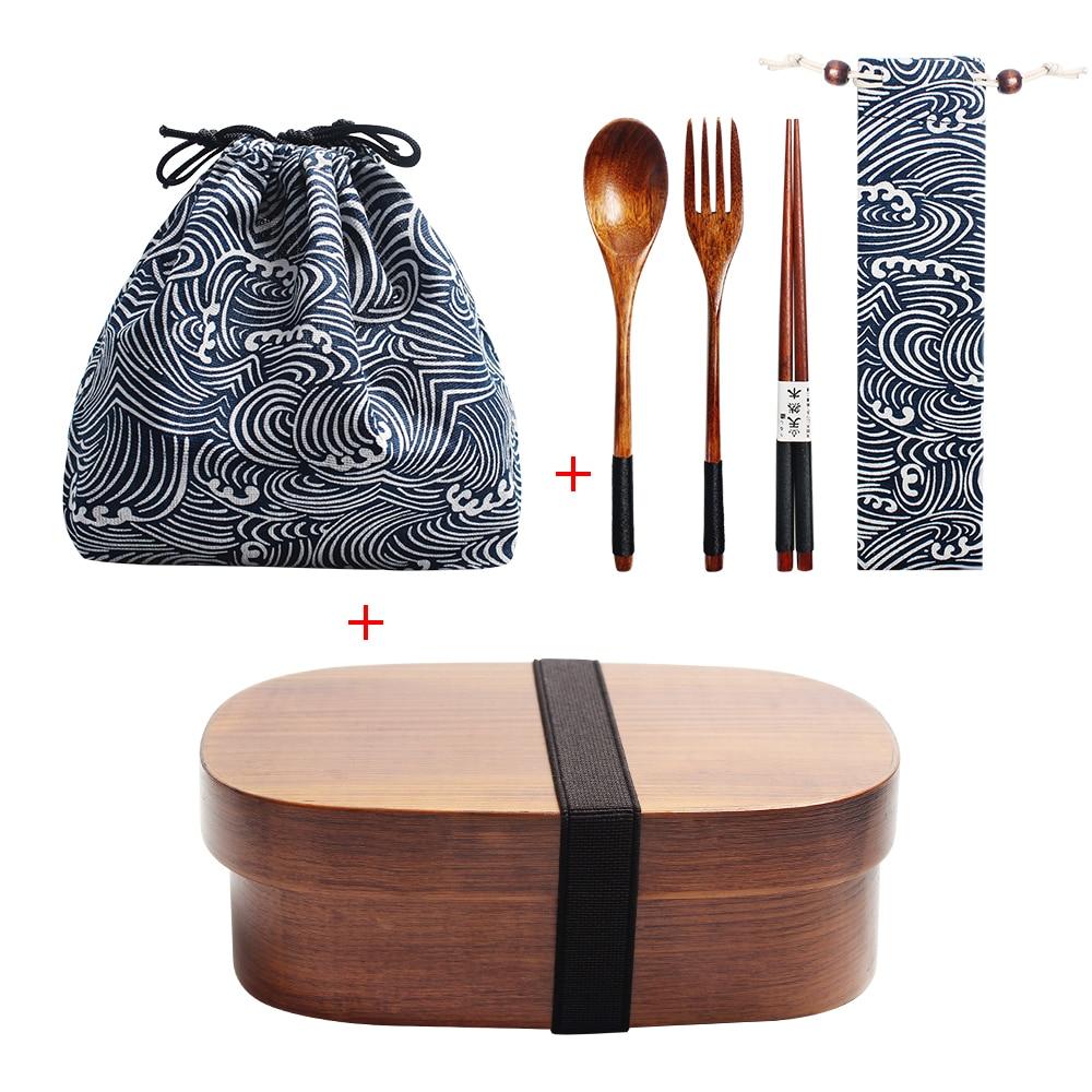 Boîte à déjeuner en bois pique-nique boîte à Bento japonaise pour l'école enfants ensemble de vaisselle avec sac et cuillère fourchette baguettes ronde boîte à déjeuner carrée