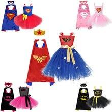 Meninas tutu vestido super herói inspirado roupas de bebê criança maravilha menina traje super herói cosplay natal halloween traje para crianças