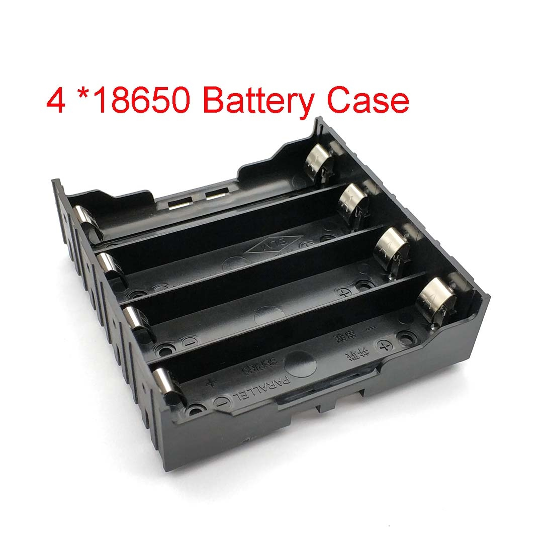High Quality 18650 Battery Box Holder Batteries Case For 4pcs 18650 In Parallel 3.7V Pole Black For Soldering