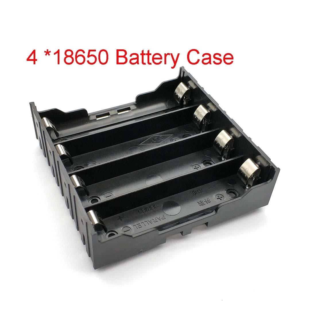 High Quality 18650 Battery Box Holder Batteries Case For 4pcs 18650 In Parallel 3.7V Pole Black For Soldering