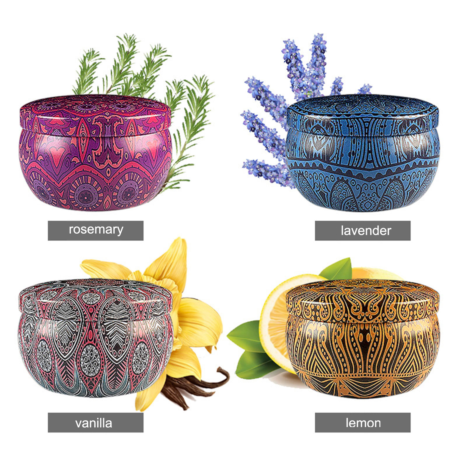 4PCS Scented Candles Tin Can Candle Lavender Rosemary Lemon Aromatherapy Candle Tinplate Box Soy Wax Candle For Home Decor