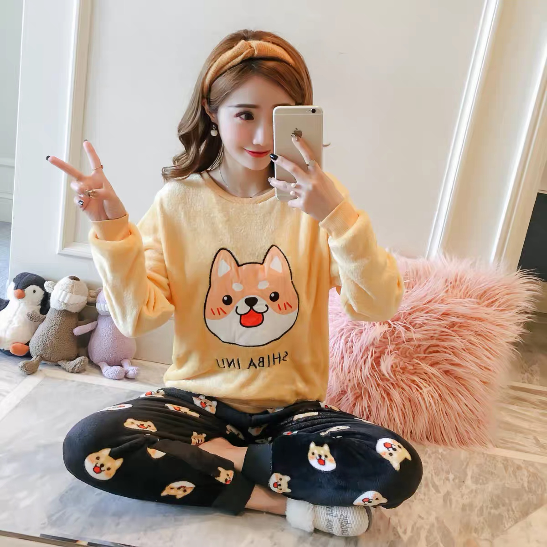 korean Flannel Warm Pajamas for Women Long Sleeve Home Suit Ladies sleepwear cartoon Velvet Pajama set Thick Feminino Pyjamas 96