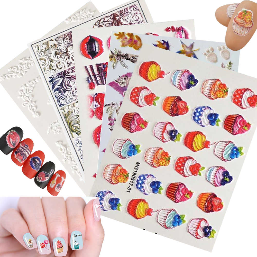 Newest 1 Sheet 6D Acrylic Engraved Nail Sticker Mix Color Design Water Decals Empaistic Nail Water Slide Decals Fashion Beauty