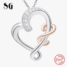 SG 100% 925 sterling silver hollow Heart pendant necklace with fashion Zircon link chain necklace jewelry for women gifts фигурка декоративная lefard 9 9 21 см