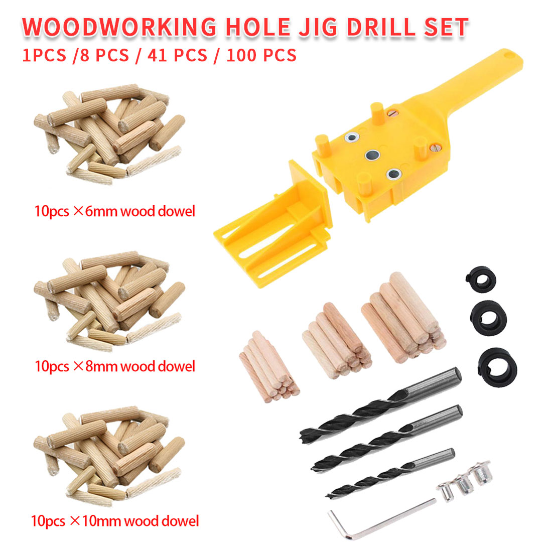 1pc/8pc/14pc/100p Self-Centering Puncher Drill Guide Locator Jig Wood Doweling 6mm 8mm 10mm Handheld Pocket Hole Jig Woodworking