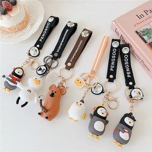 Милый пингвин брелок красочные мягкие резиновые ПВХ прекрасный медведь брелки для женщин брелок для автомобиля брелок сумка кулон ювелирн...