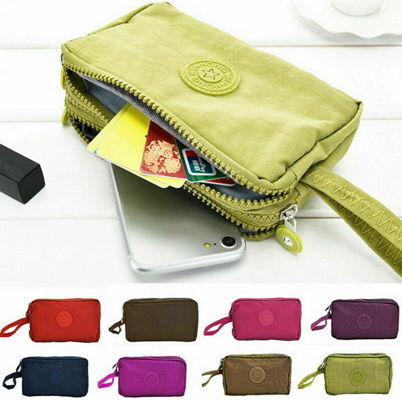 UK Womens Simple Solid Phone Bag Short Wallet Three-Layer Zipper Purse Big Size Purse New