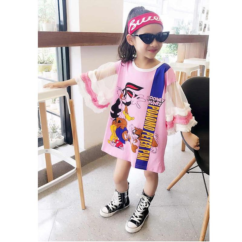 Summer girls dress baby tee dress kids fashion streetwer Children vestido cartoon duck rabbit print mesh puff sleeve 3 to 12 yrs