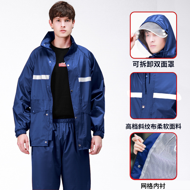 Men Motorcycle Raincoat Rain Pants Suit Adult Thickening Rain Poncho Waterproof Suit for Fishing Rainwear Casaco Masculino Gift 5