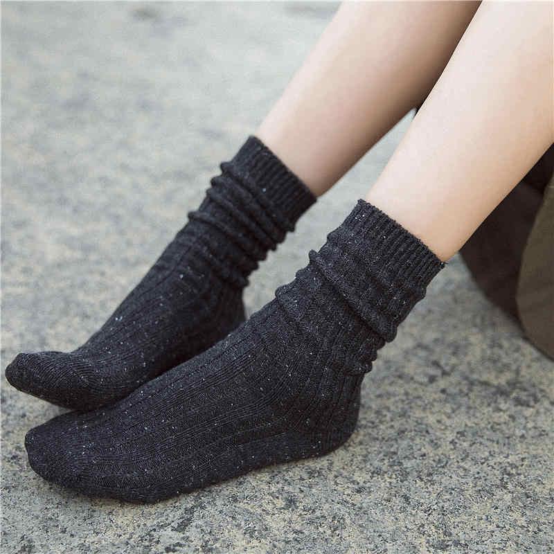 KingDeng כותנה גרביים חמים לאישה חורף Harajuku Sheer קרסול פלאפי אמנות אסתטי מטושטש גרב יוקרה קוריאני סגנון נשים