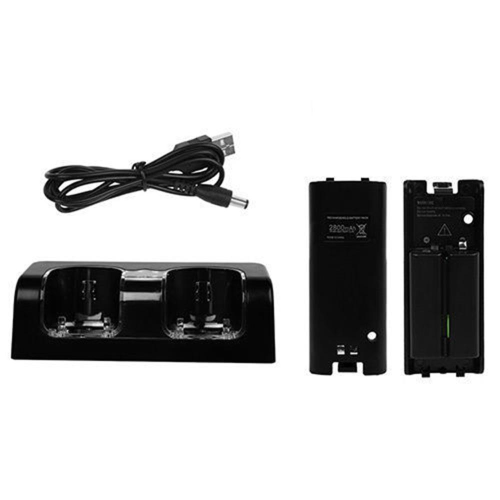 For Nintend WII Remote Controller Charger Charging Dock Station +2 Batteries Game Accessories