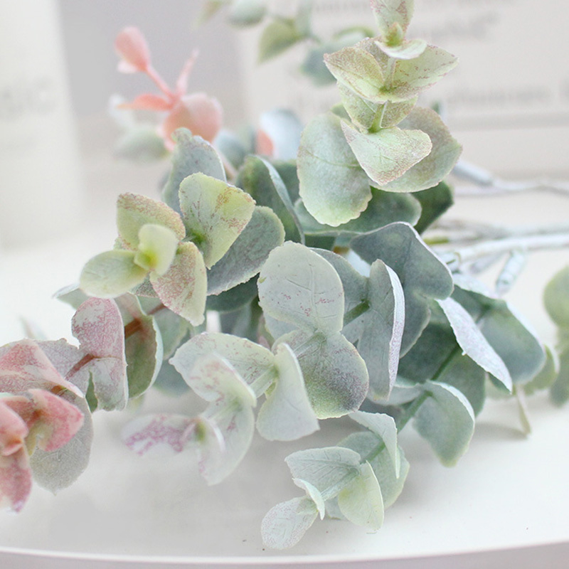 Image 5 - FANTASY 13 heads False Eucalyptus Leaves Artificial Tree Branch Flower Bouquet Plastic Fake Leafs Faux Plant Flower Indoor Decor-in Artificial & Dried Flowers from Home & Garden
