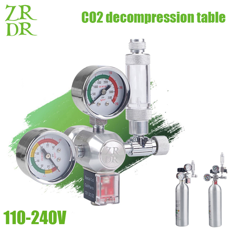 ZRDR Aquarium CO2 Regulator With Check Valve Bubble Counter MagneticSolenoidValveAquarium Carbon Dioxide Pressure-reducing Val