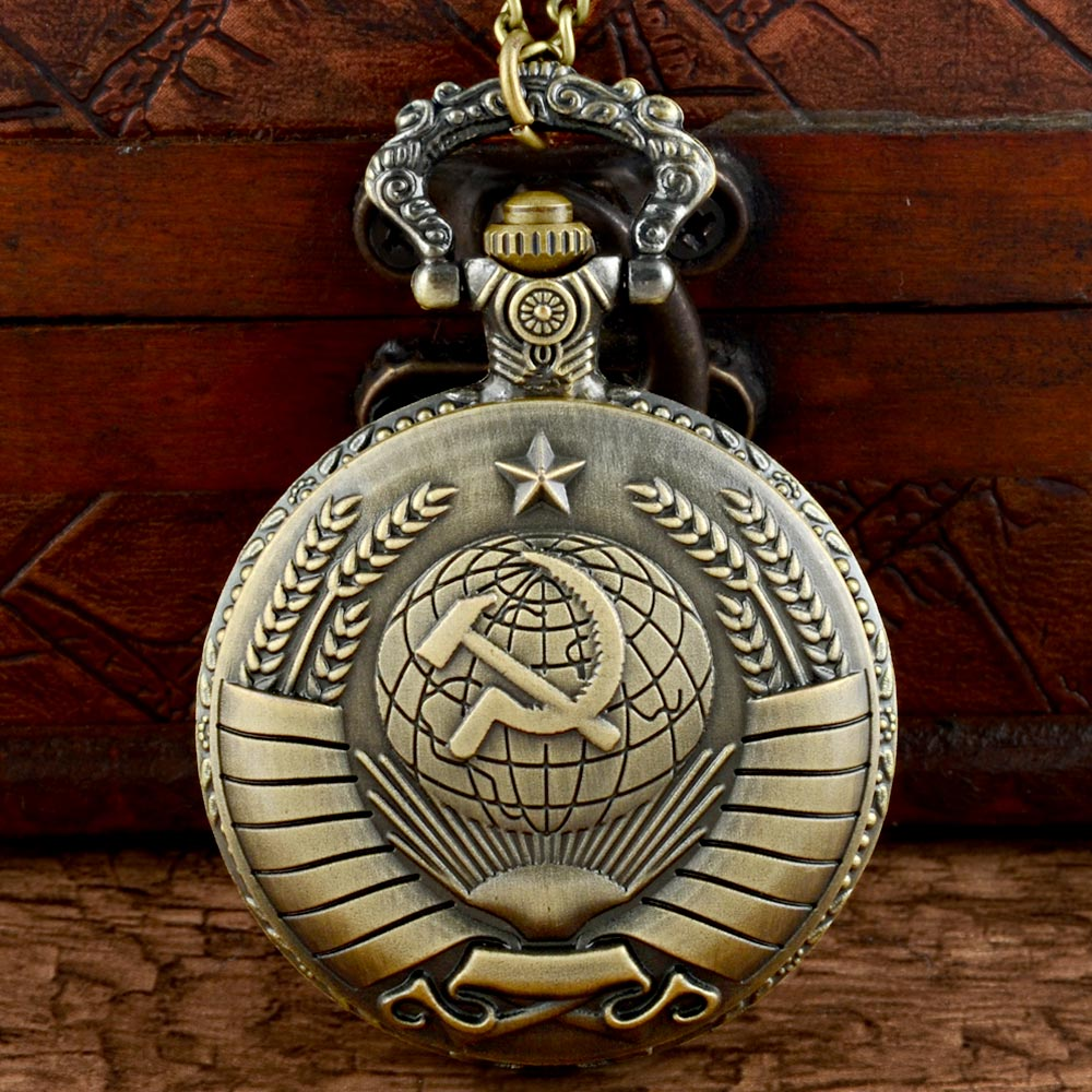 New Arrivals USSR Soviet Badges Sickle Hammer Quartz Pocket Watch With Chain Retro Men Women Classic Pendant Necklace Clock Gift