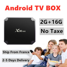 Caixa de tv android x96mini 2g andorid caixa de tv inteligente navio da frança