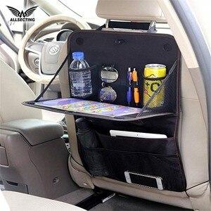 Ткань Оксфорд, органайзер на заднее сиденье автомобиля, подвесная сумка для хранения автомобиля с чашками, складной настольный лоток для пу...