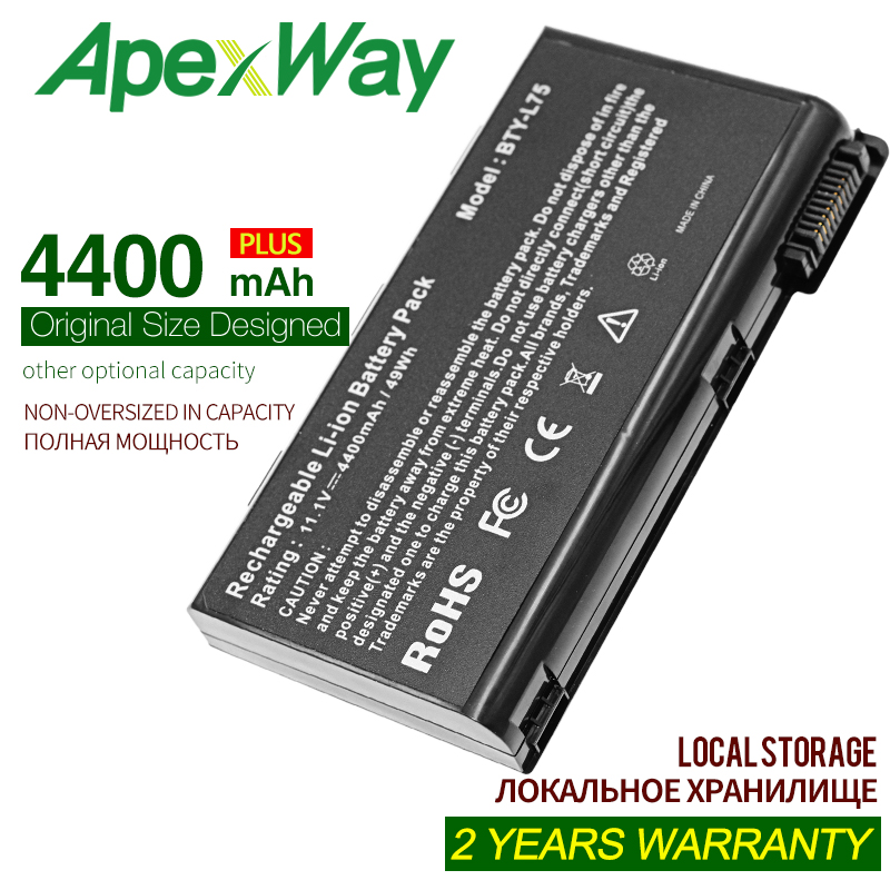 Apexway 4400mAh 6cells BTY-L74 Laptop Battery For MSI L74 L75 A5000 A6000 CX500 CX500DX CX705X CX623 EX460 EX610 CX700 CX620