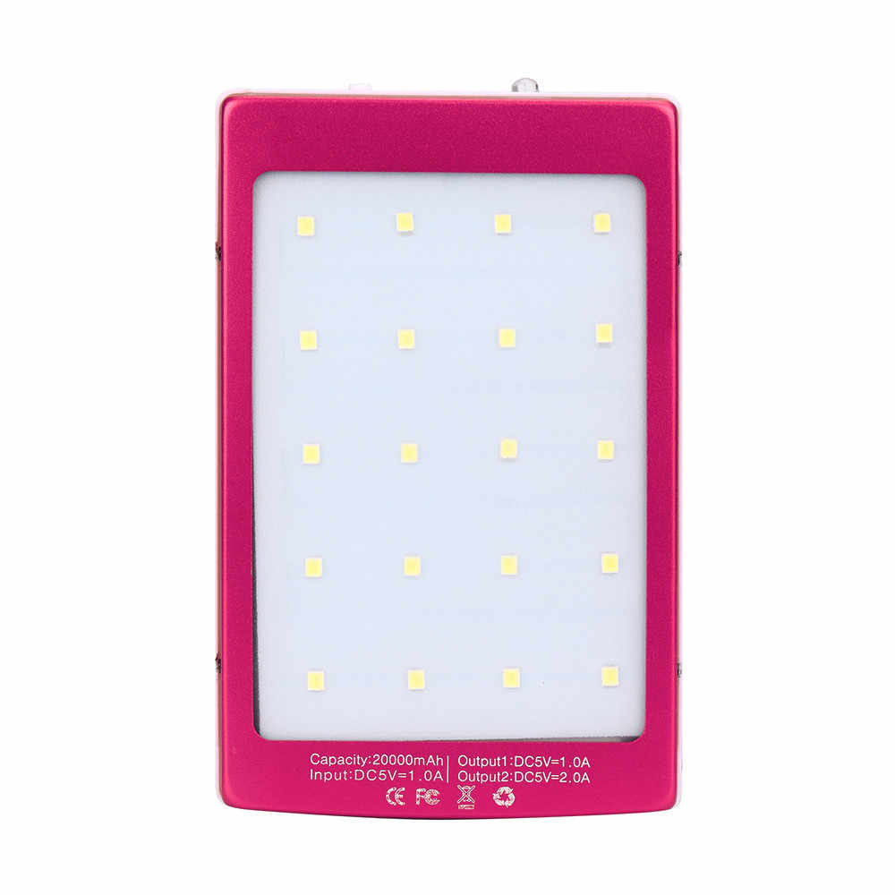 20000mAh LED Dual USB Portable Solar Battery Charger Power Bank For Cell Phone For Iphone For Huawi For Pc In Flashlight #20