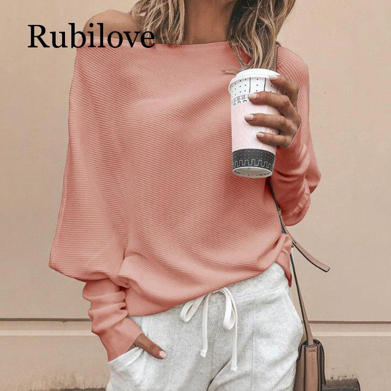 Rubilove Batwing sleeve casual loose sweater tops pullover Fashion autumn off shoulder knitted sweater Solid grey white knitwear in Pullovers from Women 39 s Clothing