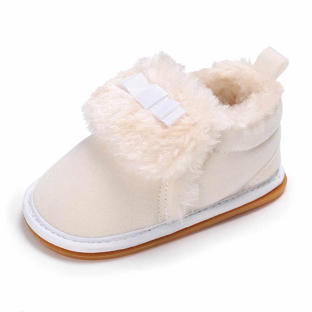 Sapatos de algodão do inverno do bebê Da Criança Arco Bebê Meninos Meninas Mocassins de Sola Macia Não-deslizamento de Pelúcia Quente botas de Veludo Neve y903