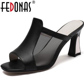 FEDONAS 2020 Cow Genuine Leather Women Shoe High Heels Sandals Elegant Peep Toe Slippers Summer Wedding Party Newest Shoes Woman