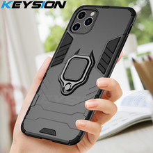 KEYSION Shockproof Armor Case For iPhone 11 Pro Max Stand Car Ring 360 Phone Cover for Apple