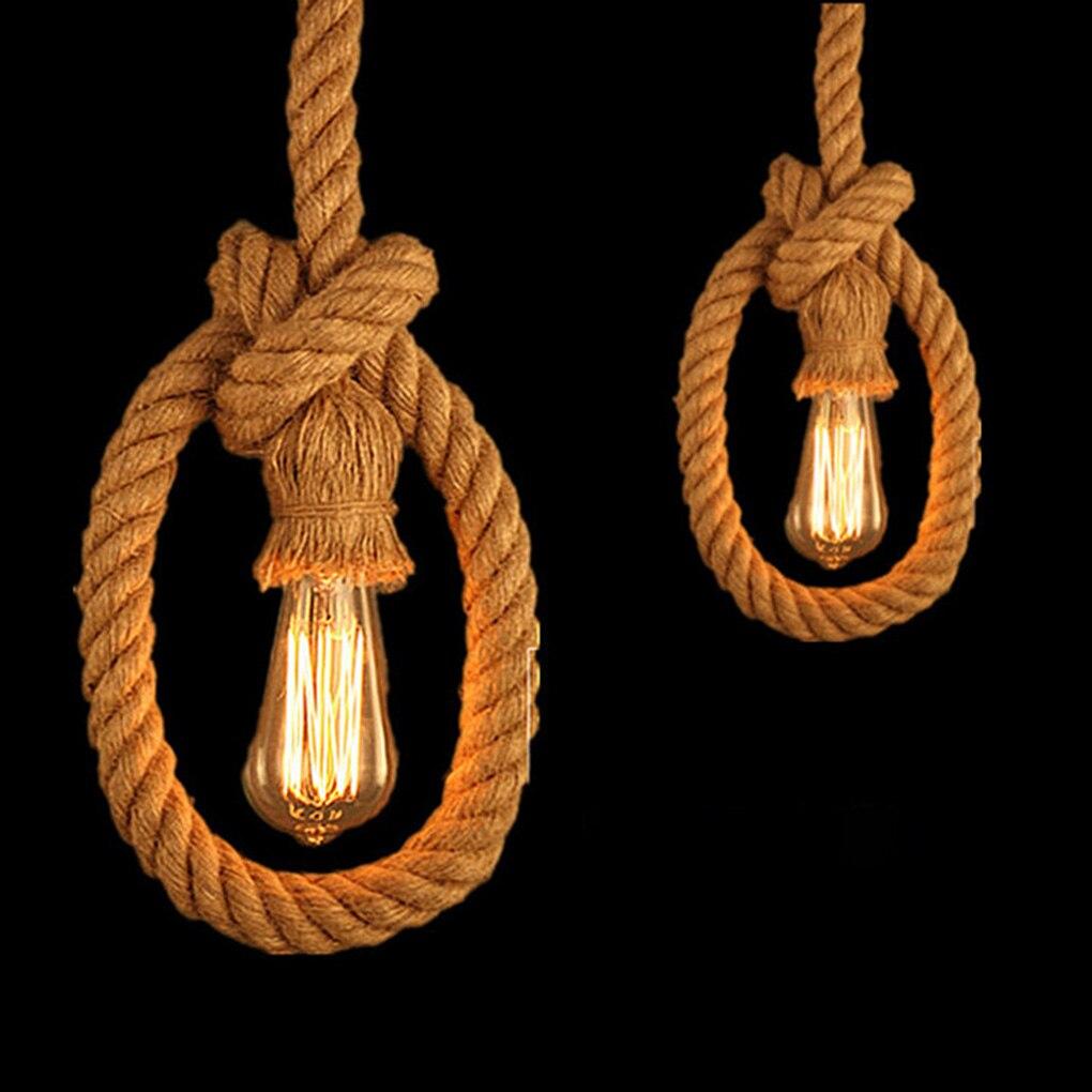 1m/1.5m Single/Double Heads Hemp Rope E27 Bulb Holder Cord Electric Wire DIY Pendant Decorative Light Base