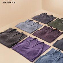 Syrokan liquidação sem costura treino regatas para mulher racerback atlético camisa esportiva com sutiã embutido