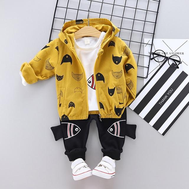 Spring Autumn Baby Boy Casual Set- Coat + T-Shirt + Trousers - Cat Print