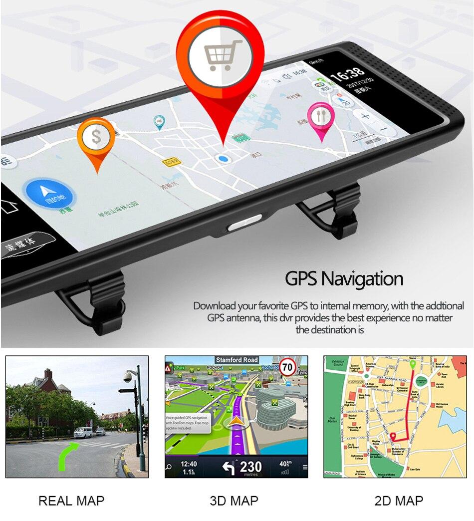 Anstar 10 4G Auto DVR HD 1080P WiFi Android Video Recorder GPS Navigation ADAS Dual Objektiv Dash cam Auto Rückspiegel Kamera - 4