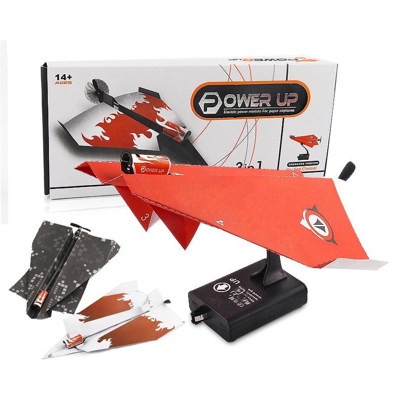 Электрический бумажный самолет складной DIY Aircrafts power Toy Дети крутой мотор образовательные модели игрушек