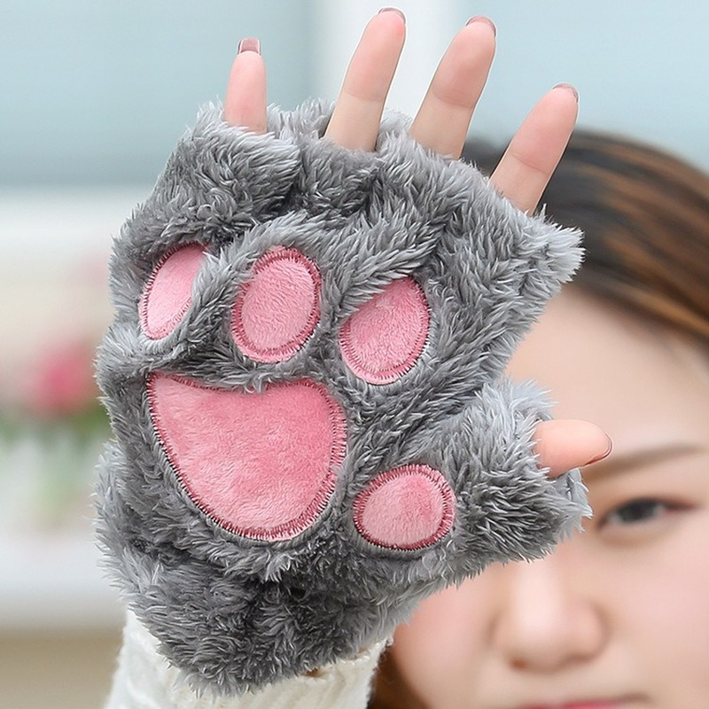Korean Version Of The Embroidery Bear Paw Cat Claw Half Finger Plush Gloves Outdoor Warm Gloves Female Winter Gloves
