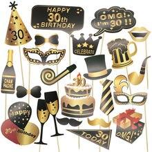 1 conjunto 30th 40th 50th 60th feliz aniversário balão foto estande adereços fram máscara engraçada chapéus lábios coroa foto cabine adulto festa decoração