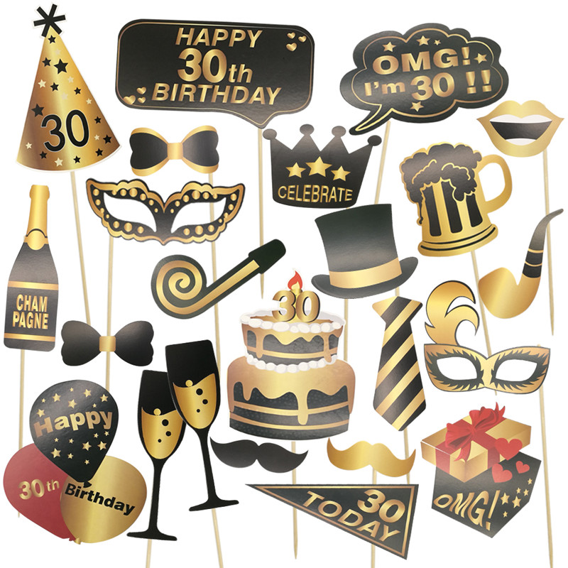 24Pcs 30th 40th 50th 60th Happy Birthday Photo Booth Props Funny Mask Hats Lips Mustaches Crown Photo Booth Adult Party Decor