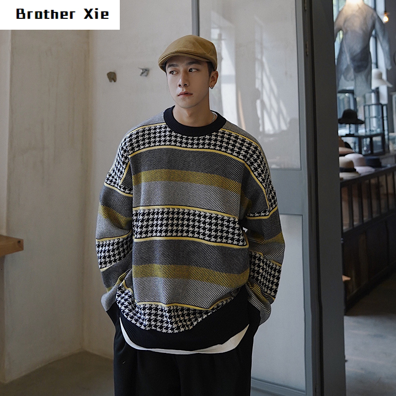 Winter Sweater Men's Warm Retro Hit Color Casual Knit Sweater Man Sweter Clothes Wild Loose Long-sleeved Pullover Men M-2XL