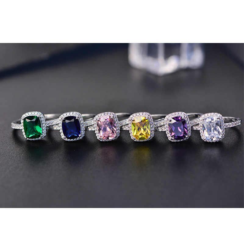 สไตล์ใหม่สีขาว/สีเหลือง/สีม่วง/สีฟ้า/สีเขียว/สีชมพูคริสตัลแหวนเงินแหวนที่มีสีสันแฟชั่นเครื่องประดับ