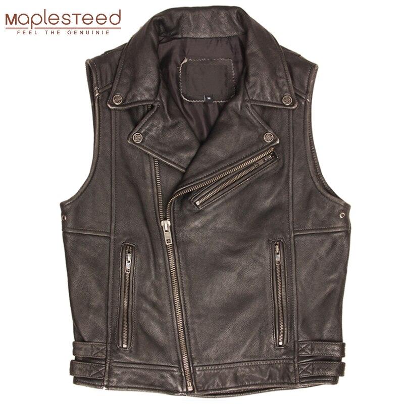 Vintage Black Motorcycle Leather Vest 100% Cowhide Men's Biker Leather Vest Moto Leather Waistcoat Male Sleeveless Jacket M364
