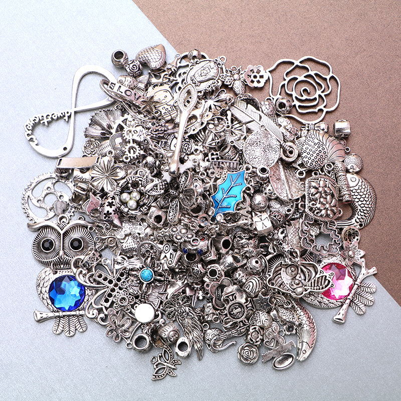50g/lot Antique Silver DIY Charms Mixed Pendants Jewelry Making Vintage Bracelets Craft Metal For Diy Jewelry Making Gifts