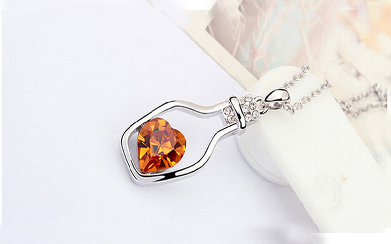 Ladies Fashion Popular Crystal Necklace Heart Love Chain Necklaces & Pendants For Women Gift Love Drift Bottles Necklace 2019 21
