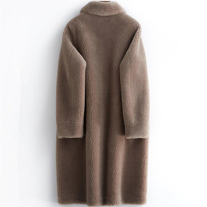 Sheep Women High Quality Winter Shearing Fur Coat Luxury Long Wool Coat Loose OverCoat Thick Warm Plus Size Female Plush Coats