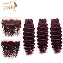 JSDShine Brazilian Deep Wave Bundles With Frontal 99j Human Hair Bundles With Closure NonRemy Burgundy Lace Frontal With Bundles(China)