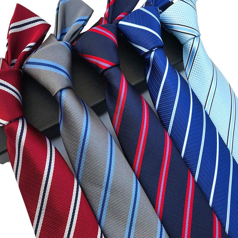 YISHLINE New 8CM Mens Tie Silk Ties Striped Blue Pink Men Wedding Cravatta Ties Man Bridegroom Necktie Autumn Winter20 Styles