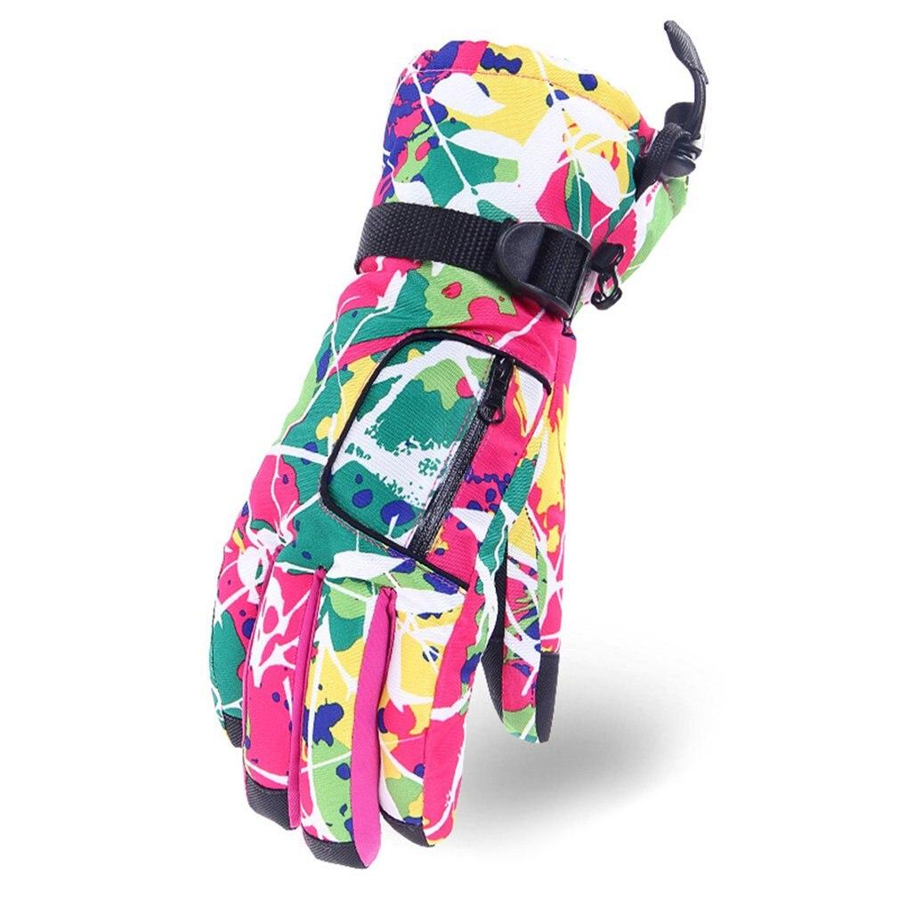 Thickened Keep Warm Women Ski Gloves Outdoor Snowboard Gloves Winter Ski Gloves Windproof Waterproof Snow Gloves