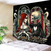 3D Printed Skull Sweet Couple Tapestries Wall Hanging Tapestry Travel Sandy Beach Picnic Throw Bed Sheet