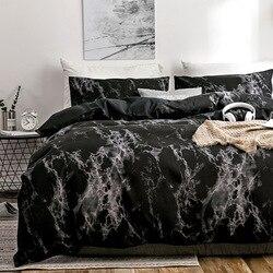 Juego de cama OLOEY de 2/3 Uds., juego de cama de mármol estampado, funda blanca y negra de edredón, funda de edredón de tamaño europeo, funda de edredón