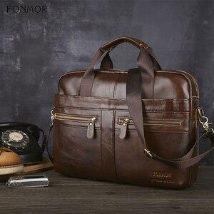 Image 3 - Fonmor Genuine Leather Briefcase Men Multilayer Laptop Bag Natural Cowhide Handbag For Man Messenger Shoulder Bags Crossbody Bag
